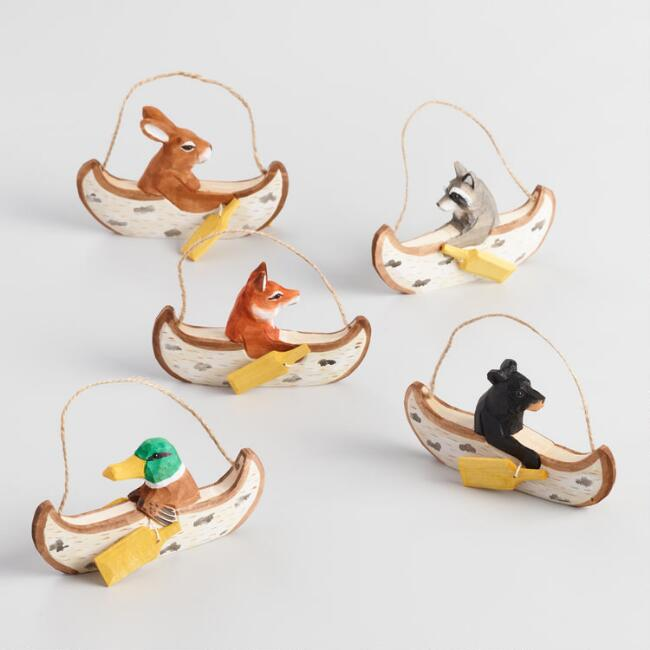 Carved Wood Canoeing Animal Ornaments Set of 5