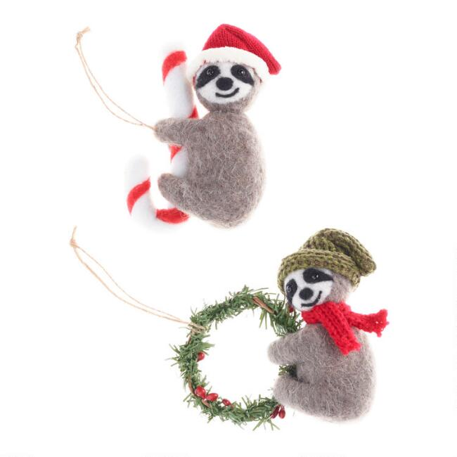 Felted Wool Hanging Sloth Ornaments Set of 2