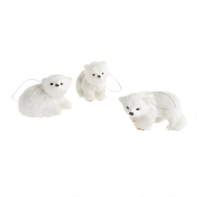 Faux Fur Polar Bear Ornaments Set of 3