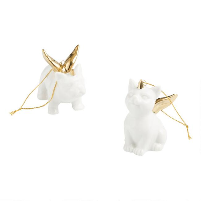 Ceramic Dog and Cat Unicorn Angel Ornaments Set of 2