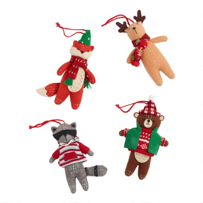 Felt Woodland Animal Ornaments Set of 4