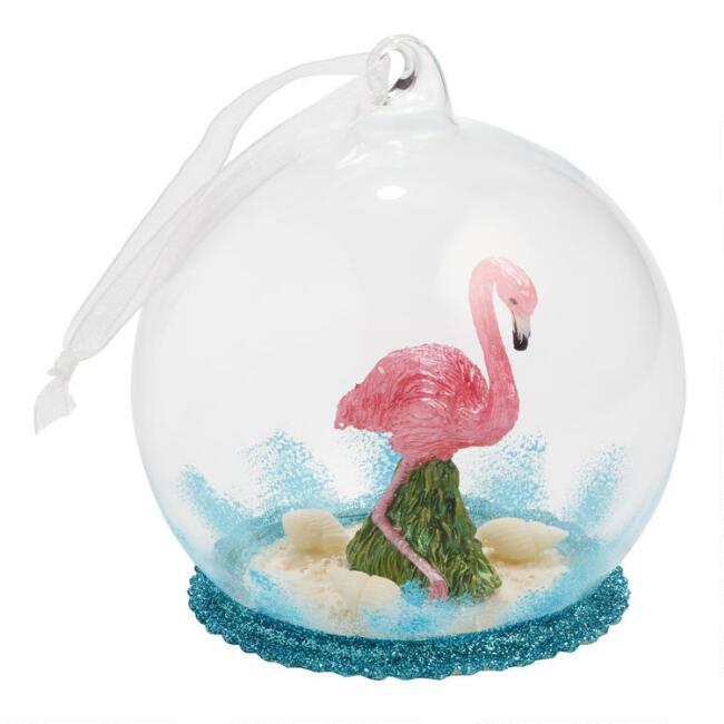 Glass Cloche Flamingo Ornament
