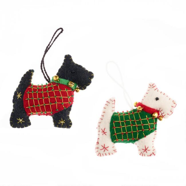 Felted Wool Westie and Scottie Ornaments Set of 2