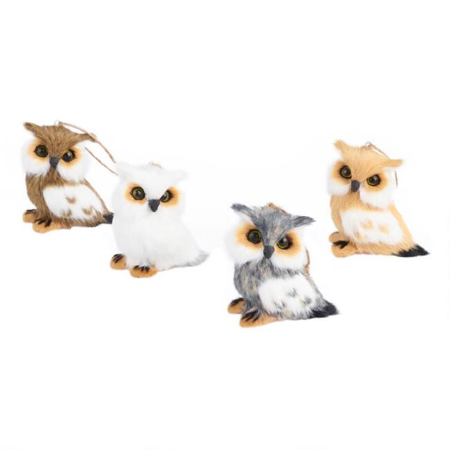 Faux Fur Spotted Owl Ornaments Set of 4