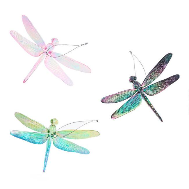 Iridescent Dragonfly Ornaments Set of 3
