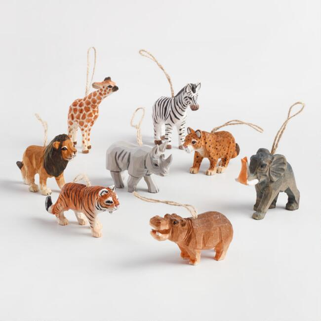 Carved Wood African Safari Animal Ornaments Set of 8