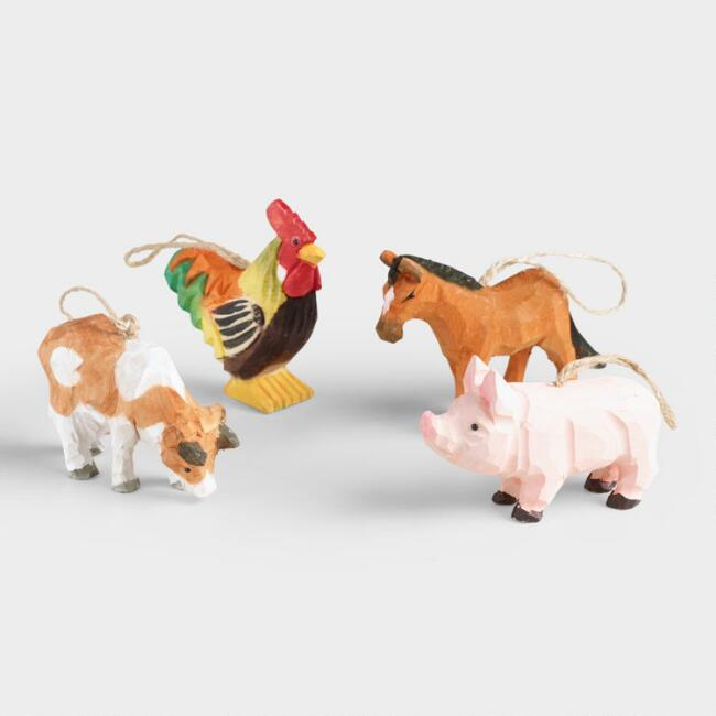 Rustic Carved Wood Farm Animal Ornaments Set of 4