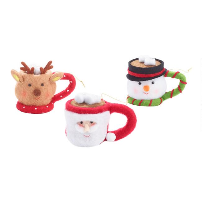 Christmas Cocoa Mug Ornaments Set of 3