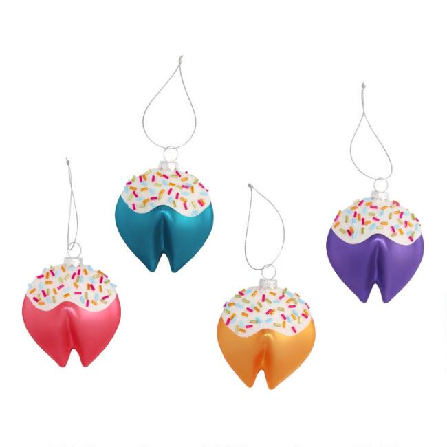 Glass Fortune Cookie with Sprinkles Ornaments Set of 4