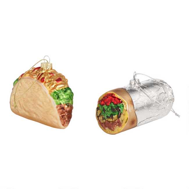 2 Glass Ornaments Taco Of And Burrito Set YmIfby6gv7