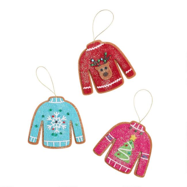 Felt Christmas Sweater Cookie Ornaments Set of 3