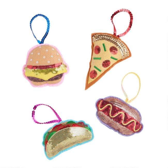 Sequined Food Ornaments Set of 4