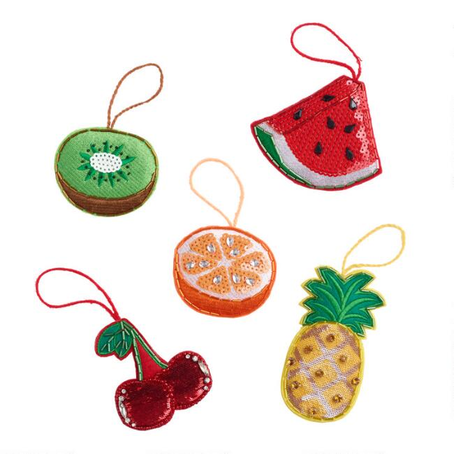 Fabric Fruit Ornaments Set of 5