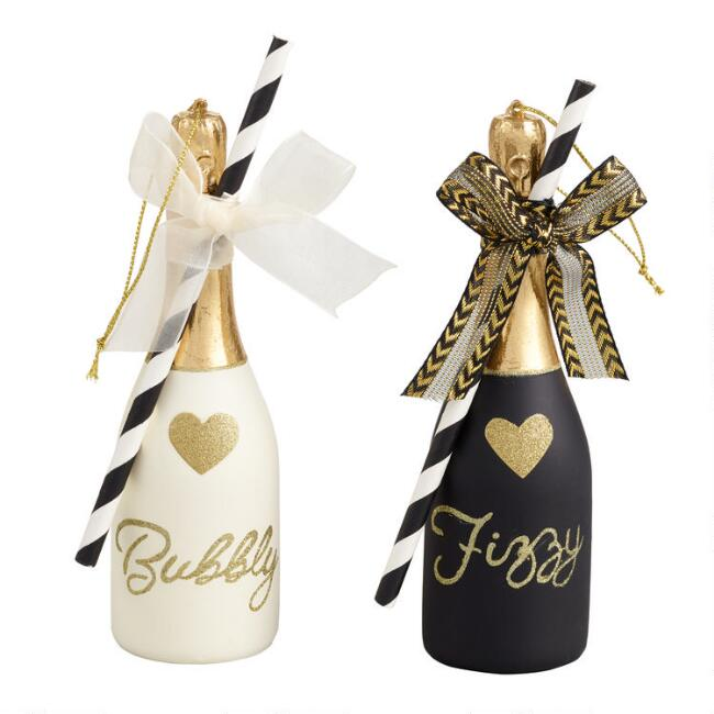 Glass Champagne Bottle Ornaments Set of 2
