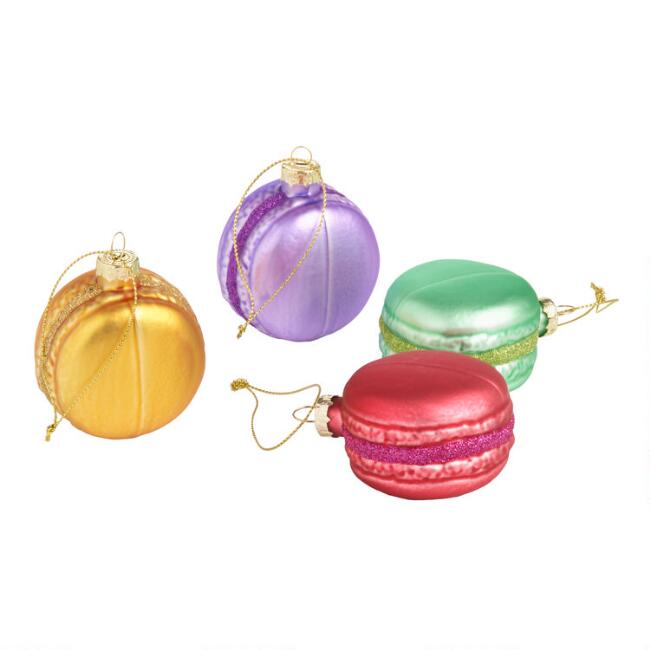 Glass Macaron Cookie Ornaments Set of 4