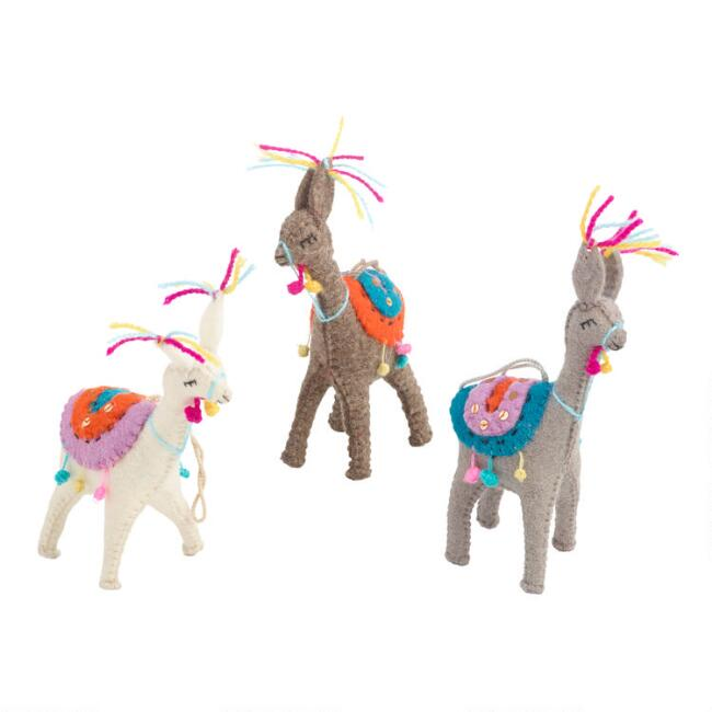 Felted Wool Llama Ornaments Set of 3