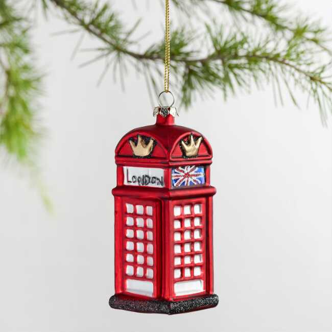 Ornaments Christmas.Red Glass London Phone Booth Ornament