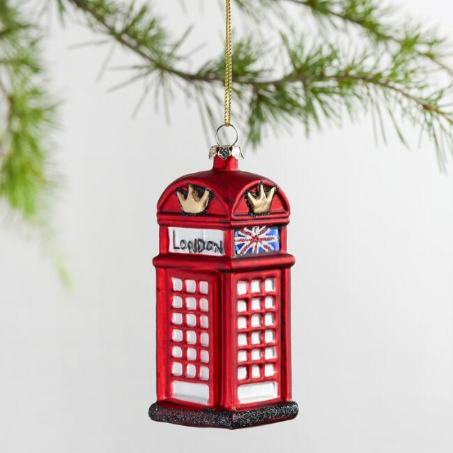 Red Glass London Phone Booth Ornament