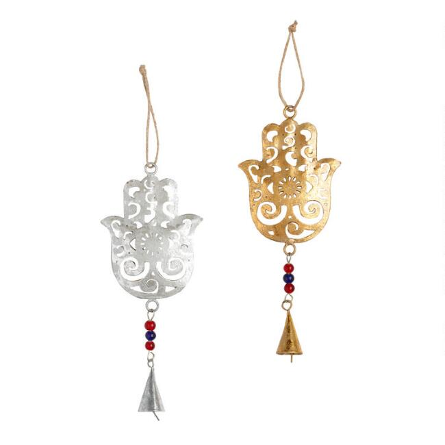Foiled Metal Hamsa with Bell Ornaments Set of 2