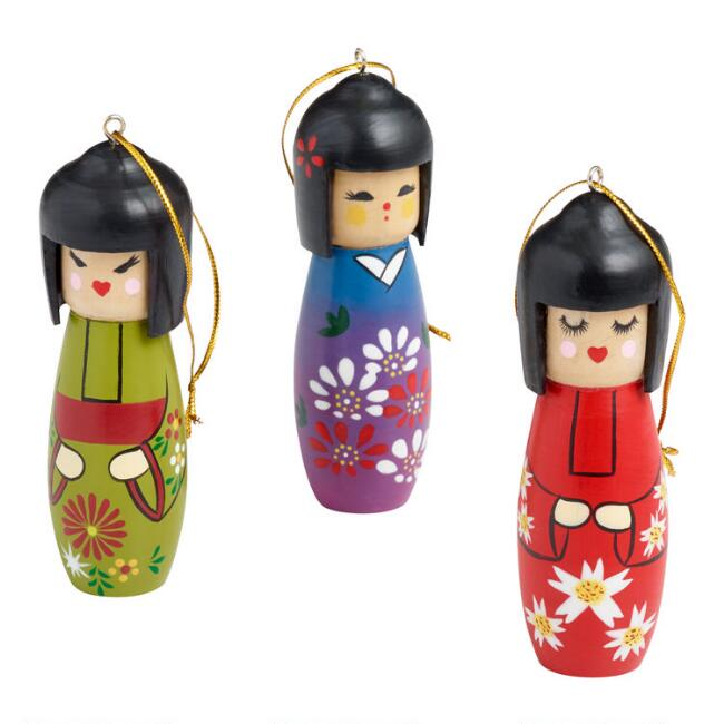 Wood Kokeshi Doll Ornaments Set of 3