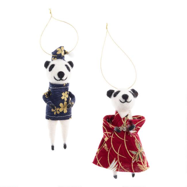 Felted Wool Fancy Panda Ornaments Set of 2
