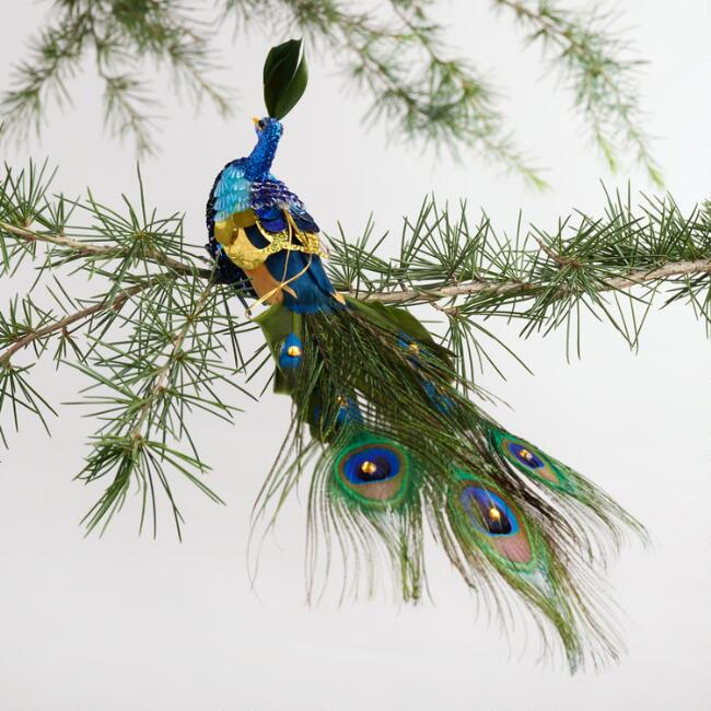 Feather and Sequin Peacock Ornament