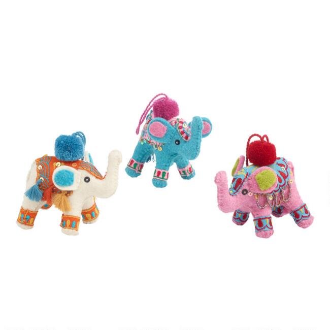 Felted Wool Pom Pom Elephant Ornaments Set of 3