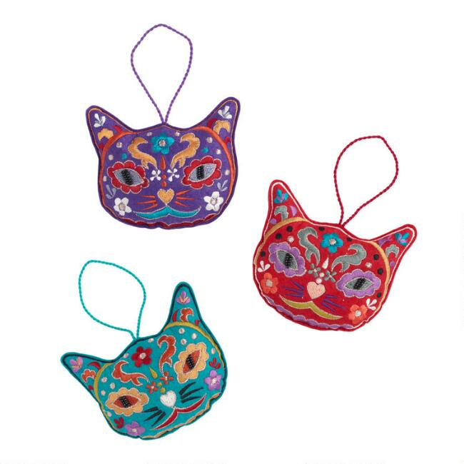 Felt Day of the Dead Cat Ornaments Set of 3