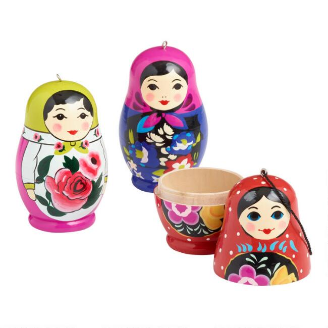 Painted Wood Russian Doll Ornaments Set of 3