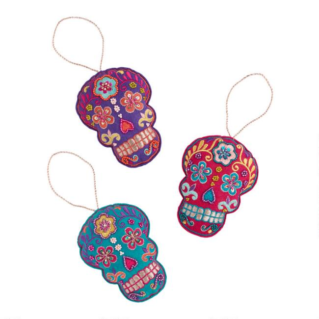 Felt Day of the Dead Skull Ornaments Set of 3