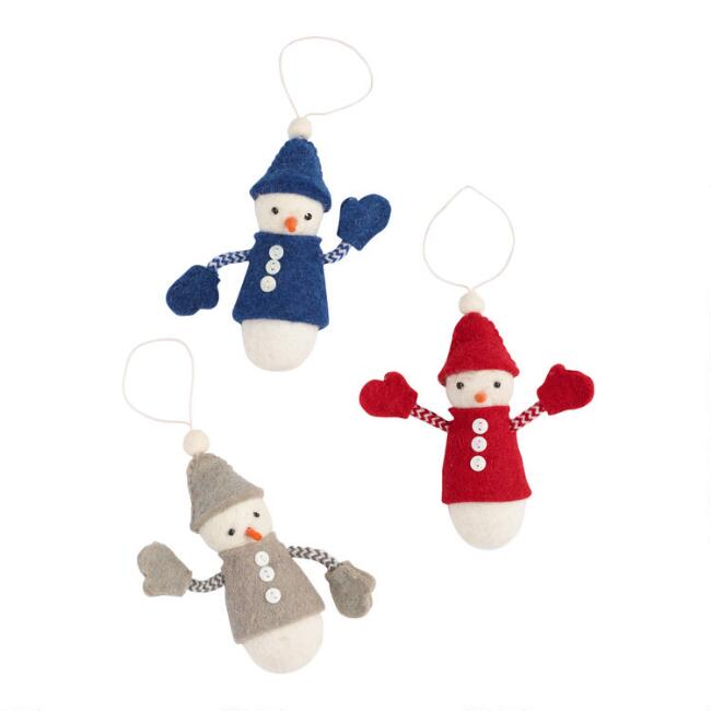 Felted Wool Snowman Ornaments Set of 3