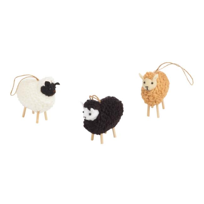 Wool Sheep Ornaments Set of 3