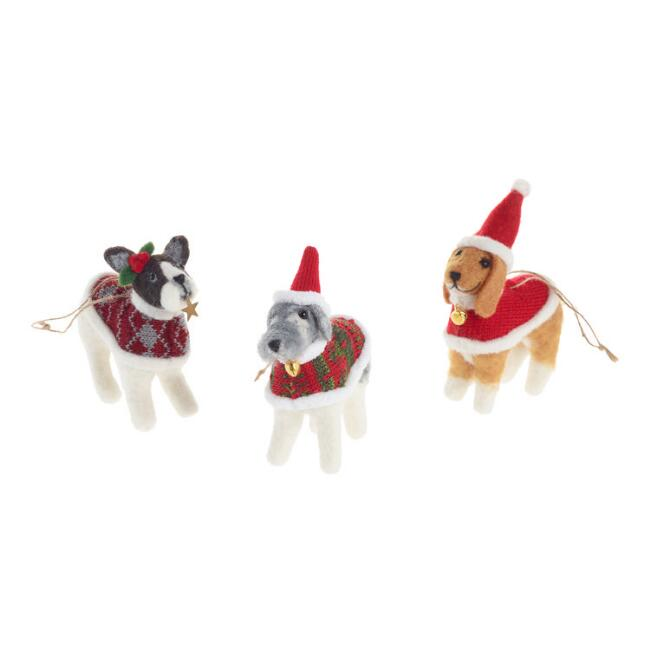 Felted Wool Dog in Sweater Ornaments Set of 3