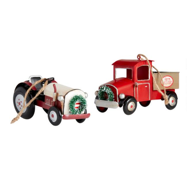 Metal Tractor and Truck Ornaments Set of 2