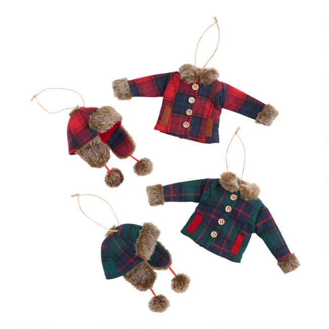 Plaid Jacket and Hat Ornaments Set of 4