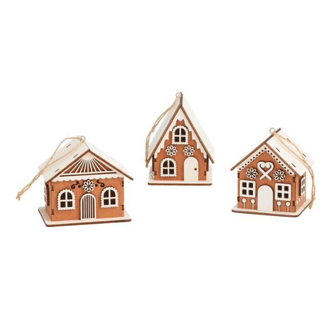 Wood Gingerbread House Ornaments Set of 3