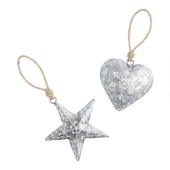 Galvanized Metal Heart and Star Ornaments Set of 2