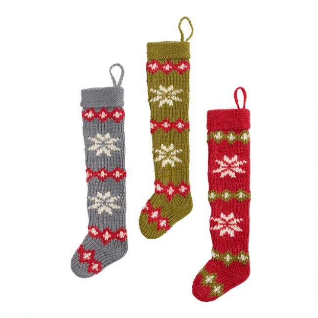 Knit Snowflake Stocking Ornaments Set of 3