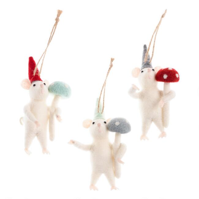 Felted Wool Mouse with Mushroom Ornaments Set of 3