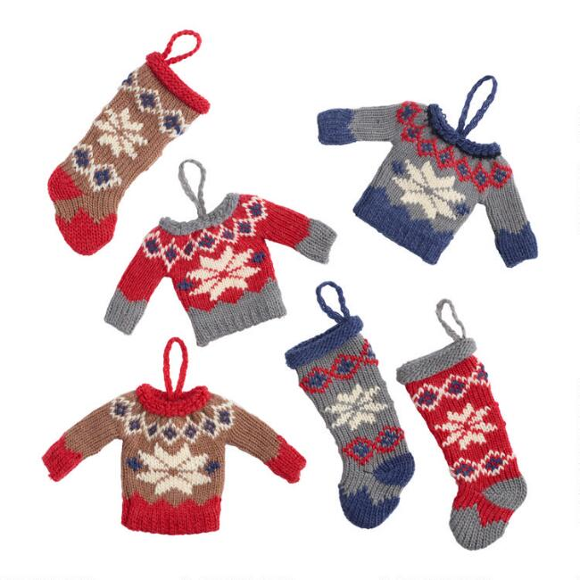 Nordic Knit Stocking and Sweater Ornaments Set of 6