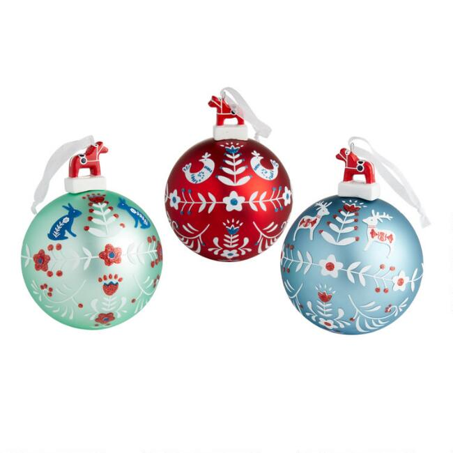 Hand Painted Glass Nordic Ball Ornaments Set of 3