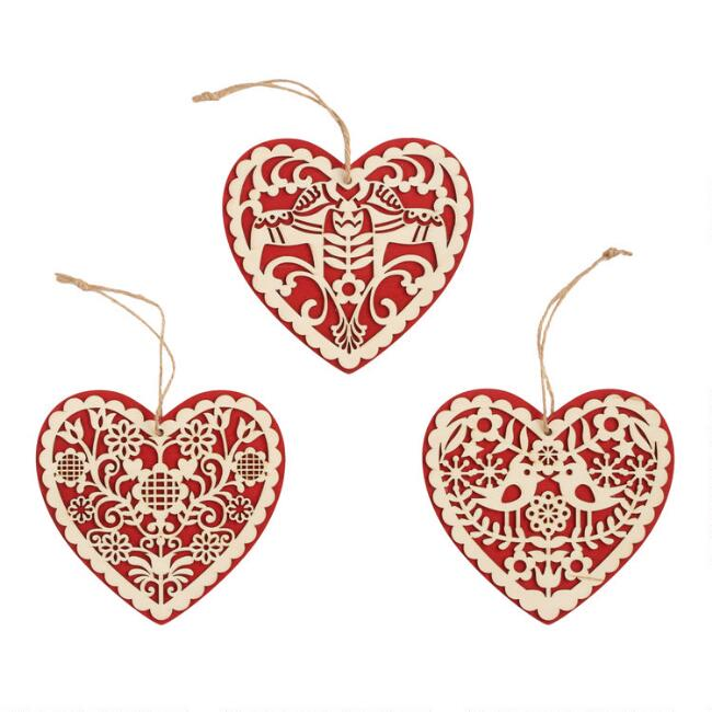 Red and Natural Wood Nordic Heart Ornaments Set of 3