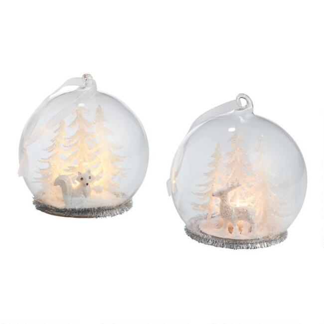 Glass Cloche Winter Woodland LED Light Up Ornaments Set of 2