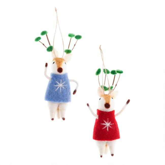Felted Wool Deer with Leafy Antlers Ornaments Set of 2