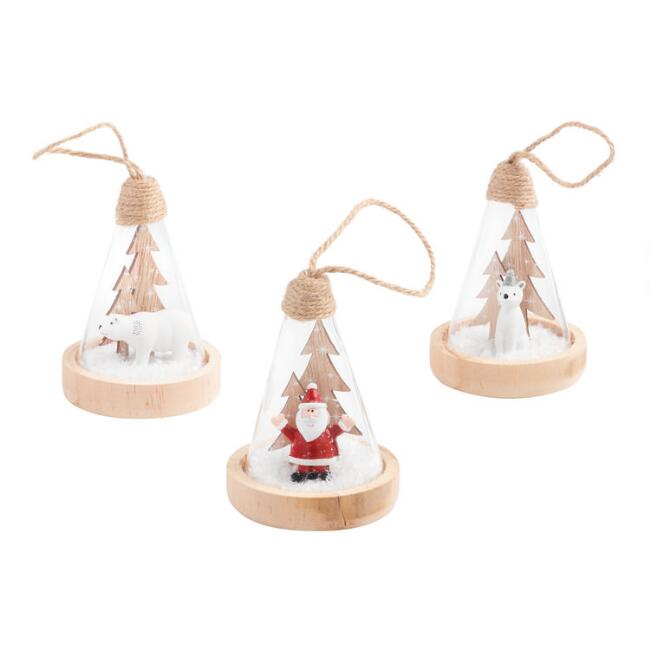 Glass and Wood Cone Shaped Winter Cloche Ornaments Set of 3