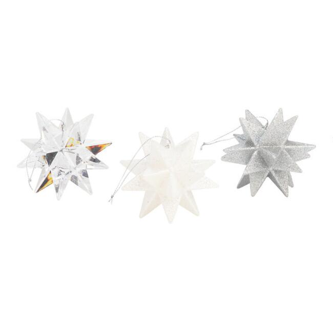 Multi Point Star Ornaments Set of 3