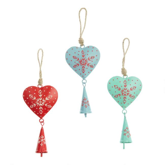 Metal Nordic Heart with Bell Ornaments Set of 3