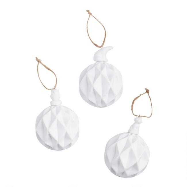 White Porcelain Geo Ball with Animal Ornaments Set of 3