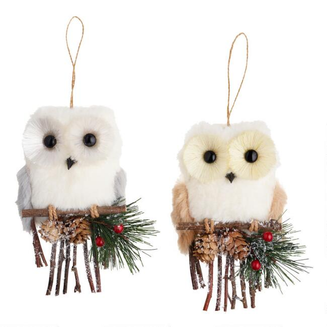 Faux Fur Owl on Perch Ornaments Set of 2