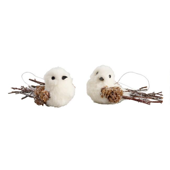 Faux Fur Icy Bird Ornaments Set of 2
